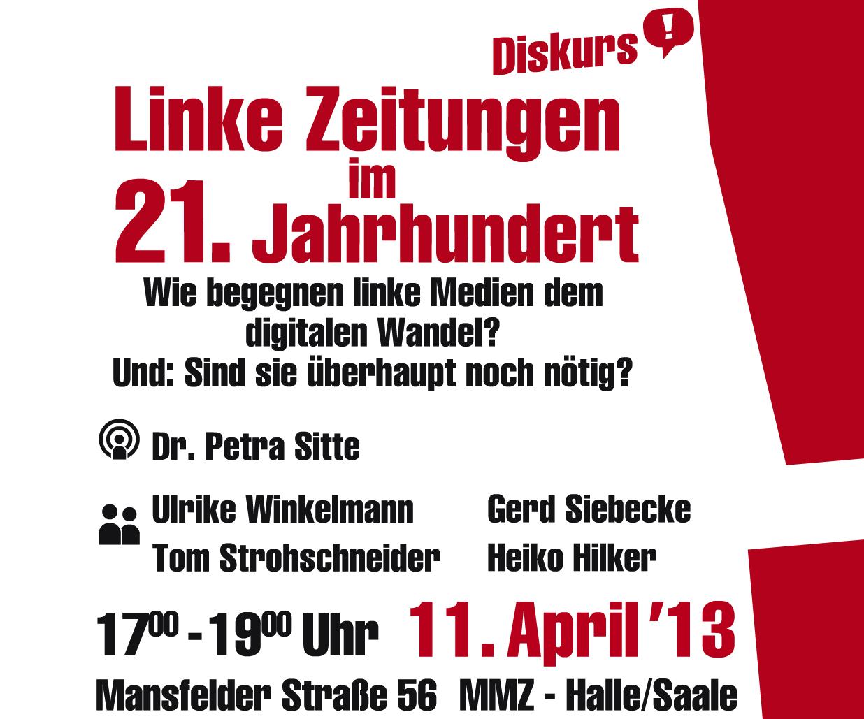 """Flyer für die Diskussion """"Linke Zeitungen im 21. Jahrhundert"""""""