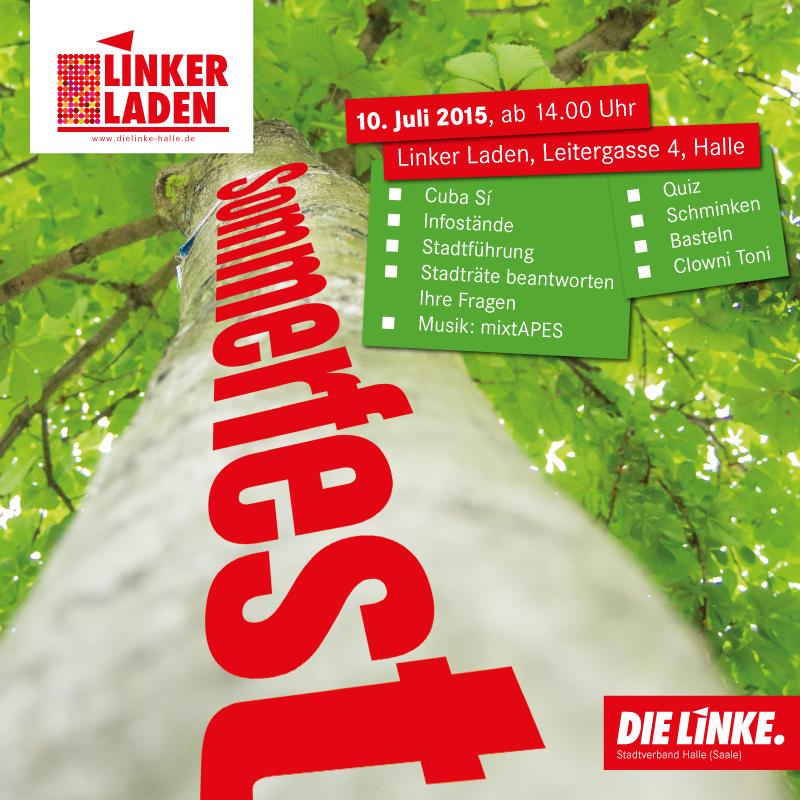 Einladung zum Sommerfest von Linker Laden (Stadtverband Halle) am 10. Juli 2015 ab 14 Uhr